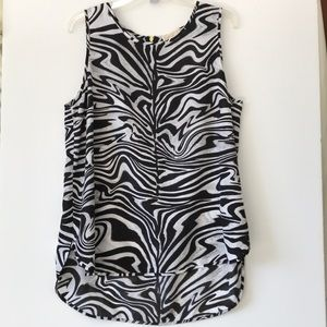 Michael Kors Zebra-Swirl Sleeveless Blouse